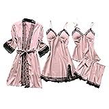 Damen Sexy Spitze Pyjamas 4Pcs Set Satin Bademantel Seide...